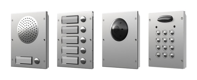 Full range of gate automation entrance systems showing speaker and release button, push buttons, video entry and keypad system