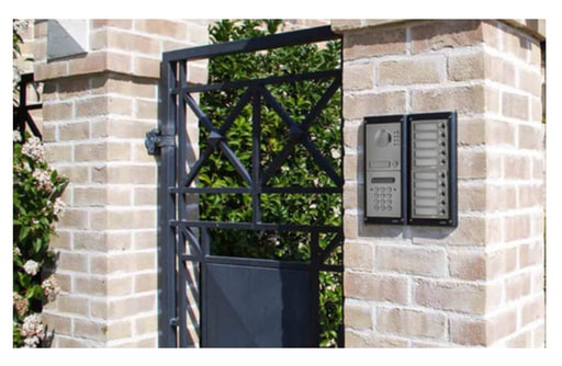 Side entrance gate or service gate with Videx GSM intercom entry system for electric gates